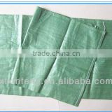 china manufacture green color 100% recycled materail pp woven bag for packing 50kg garbage