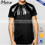 Custom Fashion Mens PU Panel T Shirts With Side Zips