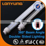 T10 double-side 360 degree rotatable plastic endcap Japanese led light tube 36w t8 with 3 warranty