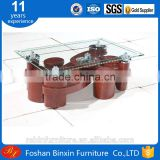 Living room furntiure RB-861-1 modern rectangular glass&pu coffee table transparent glass tea table with small pu stool