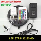 RGB LED Strip 5M 300Led 3528 SMD Fleible Light Led Tape Ribbon + 12V 2A Power Supply Adapter Home Decoration LED Lamps