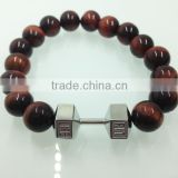 316 stainless steel dumbbell bracelet fit lift dumbbell bracelet dumbbell beads bracelet