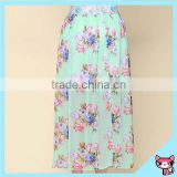 Summer Floral Green Chiffon Business Suit for Women Skirt