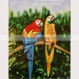 Hand painted ceramic wall tiles hanging parrot decoration