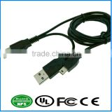 Dual USB2.0 to MiniB Datawire Extension Adapter Cable Splitter Plug For Mobile PC Portable Hard Disk Drive
