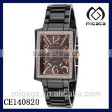 Fashion rectangle case quartz watch ceramic strap*LADIES BLACK CERAMIC DIAMONDS DATE WATCH