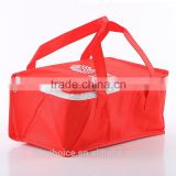 nylon fabric non-woven insulated cooler lunch bag ,ice bag for frozen food ,zipper closure,with shoulder Strap