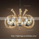murano glass rustic barn ceiling fan pendant lamp, Industrial beans restoration hardware hemp rope chandelier