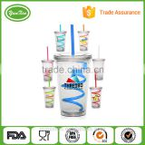 wholesale double wall transparent acrylic sippy cup plastic mug with straw and lid