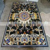 Black Marble Dining Table Tops, Rectangular Marble Inlay Home Decorative Table Top