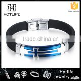 novelty products chinese blue plating cross black silicone bracelet with logo                                                                         Quality Choice