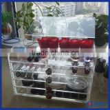 Custom fashionable clear customized acrylic counter makeup organizer / hot sale 5 tier acrylic makeup organizer