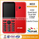 Colorful Choice $7 Very Cheap 2.4 inch 2G GSM Quad band dual sim cards mobile phone M215