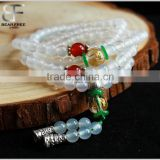 High quality semi-precious Gemstone Natural White Red Agate buddha religious 108 Rosary prayer bead bracelet
