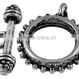 Tibetan Style Toggle and Tbars, Nickel Free, Antique Silver, Toggle: 18mm in diameter, Tbar: 21.5x5mm, hole: 2mm.(AB2002Y-NF)
