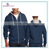 100% cotton french terry navy blue mens hoodie