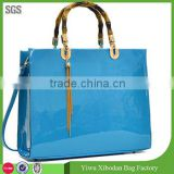 Women Shoulder Bag Wooden Handle Handbag Patent Leather Satchel Bag