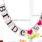Wedding supplies pink BRIDE TO BE banner vintage wedding bunting flags party decoration garland paper photo booth props                                                                                                         Supplier's Choice