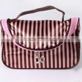 Pink Stripe Cosmetic Bag Pouch Storage Organizer Make Up Train Case Inner Bag