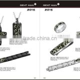 Wholesale Factory Price Men's Stone Set Camo Rings/camouflage bracelets /pendant jewelry set Arrival