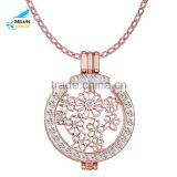 Fashion necklace 2016 new design locket pendant necklace charm crystal necklace Interchangeable coin necklace women