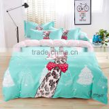 New giraffe carton design 100% Cotton Sateen BEDDING SET Duvet Cover Pillow Case Flat Sheet