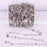 Natural Fluorite Cabochon Beaded Rosary Chains Silver Plated Clip Bead Links Wire Wrapped Chain