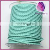 light green 3.0mm braided real leather cord for bracelet