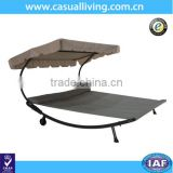 Patio Outdoor Portable Double Chaise Lounge Hammock Swing Bed with Canopy and Wheels