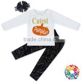 Baby Girl Cutest Pumpkin In The Patch Printed White Shirt Black Sequin Pants Set With Bow Headband Kids Girl Boutique Outfits