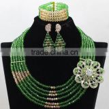 Emerald Green African Wedding Crystal Beads Necklace Nigerian Earrings Jewelry Sets