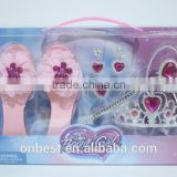 Onbest wholesale baby crown kids gift set silver hair accessories plastic princess tiaras +shoes