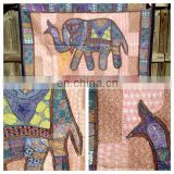 Vintage Patchwork Elephant Tapestry Decorative Elephant Patchwork Wall Hanging