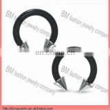 Titanium plated black CBR jewelry with stainless steel spike eyebrow ring body piercing jewelry