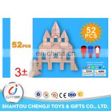 52pcs Hot sale toddlers preschool age building bulk wooden blocks