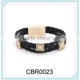 2014 fashion woven fabric letter leather charm cross bracelet with crystal diamond
