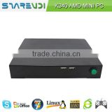Good Bargain barebone mini pc ubuntu mini pc K340 AMD E2-1800 dual core 1.7G 18W power consumption