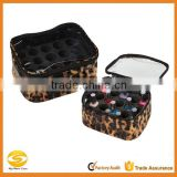 high quality custom leopard Compact Nail Polish Storage Pouch,custom nylon nail organizer case,Popular nail artist makeup case