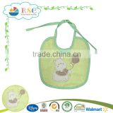 Customized 100% cotton cartoon embroidered baby bib