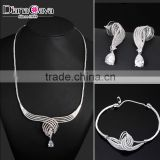 Royal Family Design Necklace Set Cubic Zirconia High Quality Platinum Jewelry Set