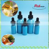 30ml surface printed glass bottle, spraying blue glass bottle, essential oil blue glass dropper bottle