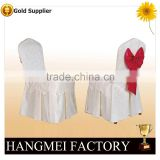 Hot sale white jacquard polyester chair cover with sash for sale