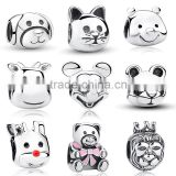 animal shape charm bead solid silver jewelry findings