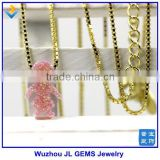Synthetic Pink Girl Shape Opal Pendant Necklace Jewelry With 18K Gold Plated 925 Silver Box Chain