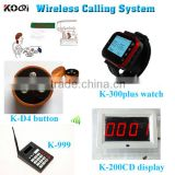 KOQI led Display Monitor Wrist Watch Restaurant Hospital Bar Call Buton Wireless Service Waiter Call Bell System