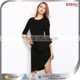 Latest Design Sexy Black Half Sleeves Short Semi Formal Dresses