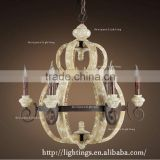 new products indoor orb wooden pendant light, calabash rustic metal antique wooden chandelier