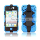 Popular stand rubber protector cover for iPhone 4 4S with belt clip