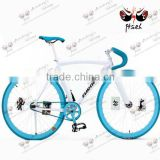 new arrival !white and blue sheep horn handlebar 700c single speed cheap fixed gear bike for sale