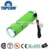 Glow In The Dark 9 LED MINI Colorful Fluorescence Flashlight With Rubber Holster